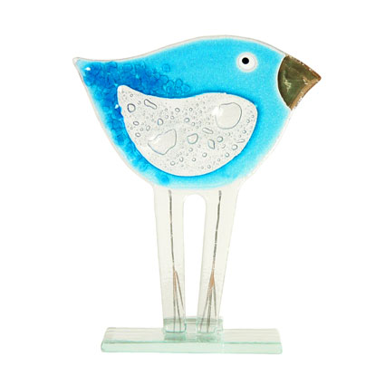 SMALLER BLUE BIRD FUSED GLASS TABLE ART