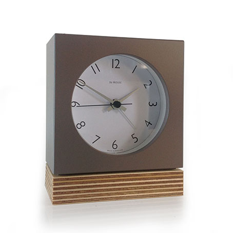 Brown Square Ply Alarm Clock