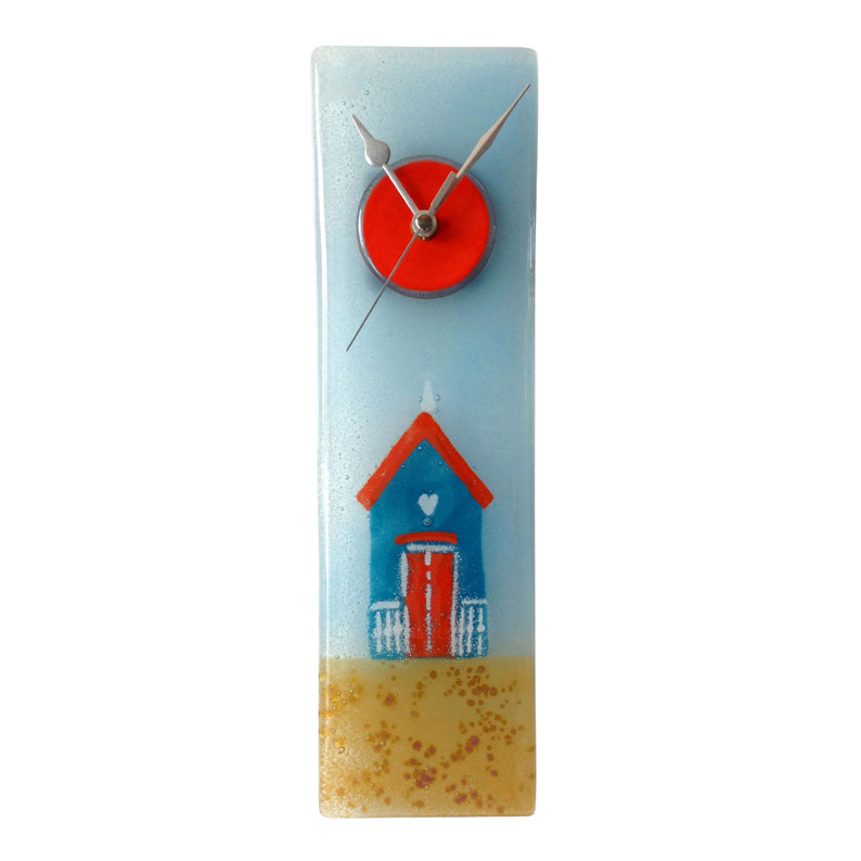 Aqua blue beach hut fused glass wall clock for Fused glass wall clocks