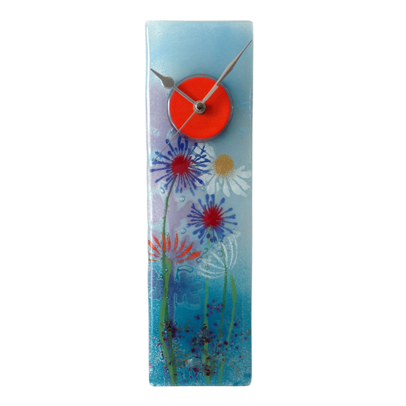 Blue Meadows Fused Glass Wall Clock