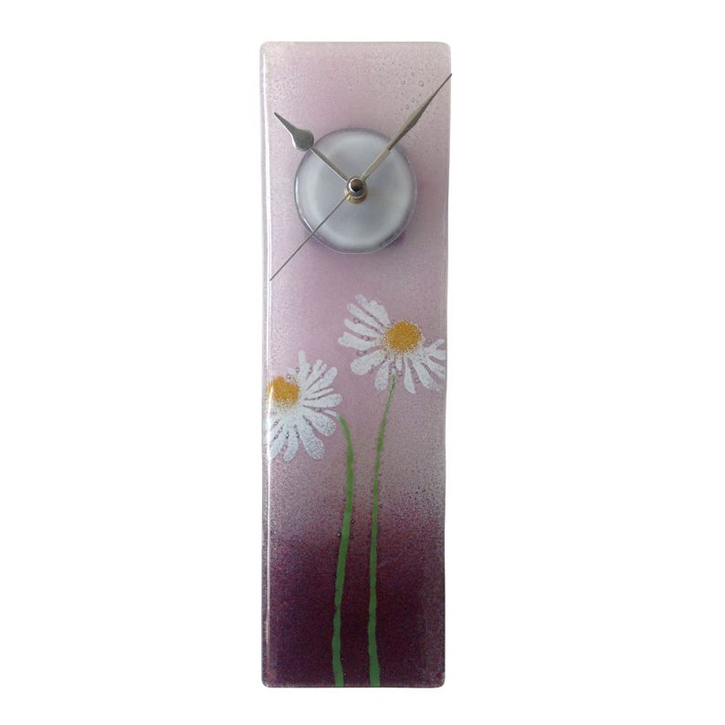 Purple daisy fused glass wall clock for Fused glass wall clocks