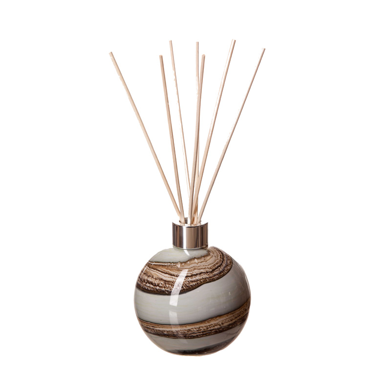 BROWN AND WHITE SWIRLS GIFT BOXED GLASS DIFFUSER