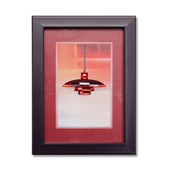 Box Framed Crystal Red Pendant Light Wall Art